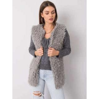 Gray faux fur vest dámské Neurčeno L