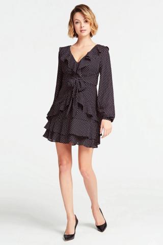 Guess bodkované šaty s volánmi - M dámské M