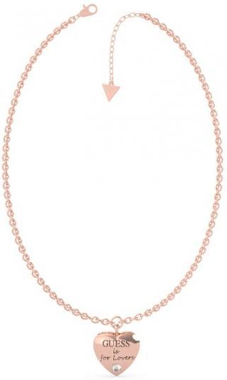 Guess Bronzový náhrdelník s príveskom srdca Guess is for Lovers UBN70027