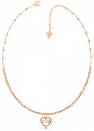 Guess Bronzový náhrdelník so srdiečkom UBN70074