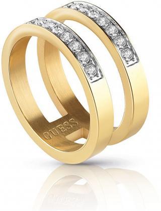 Guess Dvojitý pozlátený prsteň s kryštálmi UBR78007 52 mm dámské