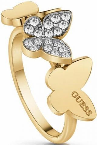 Guess Elegantný pozlátený prsteň s motýľmi UBR78004 58 mm dámské