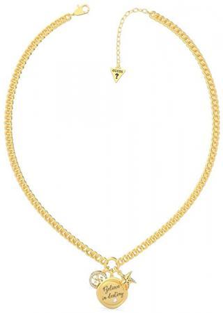 Guess Módny pozlátený náhrdelník s tromi prívesky UBN70045