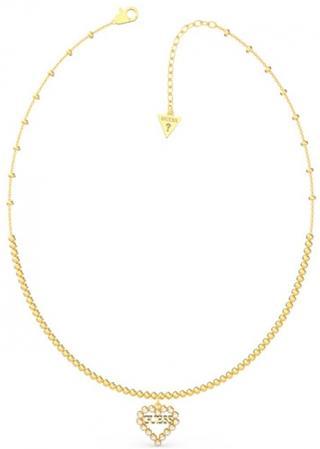 Guess Pozlátený náhrdelník so srdiečkom UBN70073