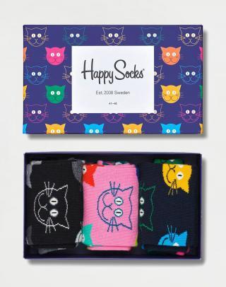 Happy Socks 3-Pack Mixed Cats Gift Set XMJA08-0100 41-46 neuvedená 41-46