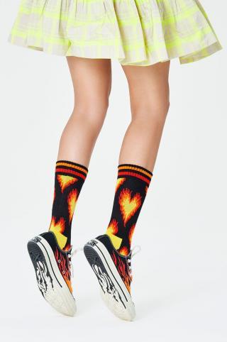 Happy Socks - Ponožky Burning Heart Thin Crew dámské čierna 36/40