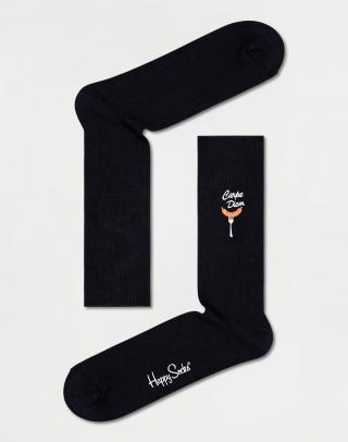 Happy Socks Ribbed Embroidery Carpe Diem Sock RECDS01-9300 41-46 Čierna 41-46