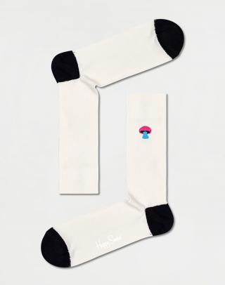 Happy Socks Ribbed Embroidery Mushroom Sock REMUS01-9100 41-46 Biela 41-46