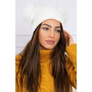 Hat with double pom pom white dámské Neurčeno One size