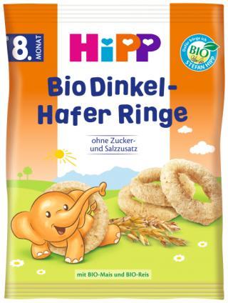 HIPP BIO Špaldové-ovsené prstienky od 8. mesiaca, 30 g