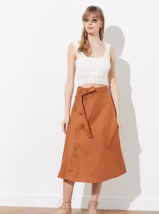 Hnedá midi sukňa s gombíkmi Trendyol dámské S