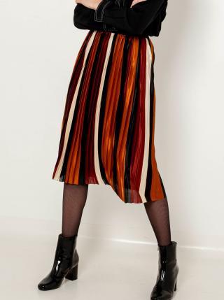 Hnedá pruhovaná plisovaná sukňa CAMAIEU dámské L