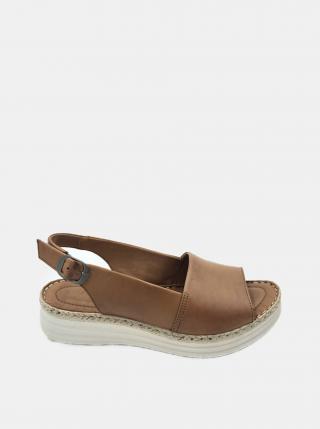 Hnedé kožené sandálky na platforme WILD dámské hnedá 39
