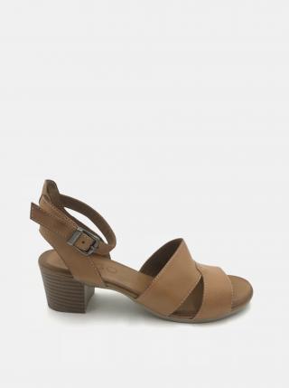Hnedé kožené sandálky na podpätku WILD dámské hnedá 38