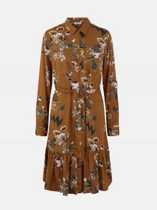 Hnedé vzorované košeľové šaty Pieces Brenna dámské hnedá M