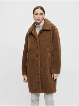 Hnedý kabát u umelého kožúšku .OBJECT Caro dámské hnedá XS