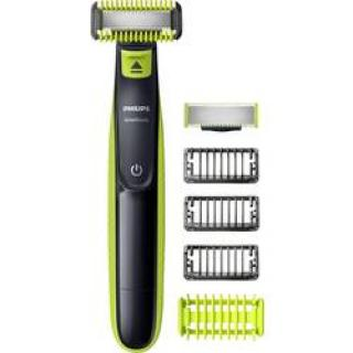 Holiaci strojček na tvár, zastrihávač fúzov, zastrihávač ochlpenia Philips OneBlade, omývateľný, svetlozelená, tmavosivá