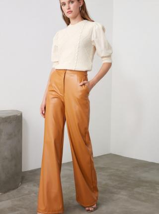 Horčicové dámske koženkové široké nohavice Trendyol - XS dámské horčicová XS
