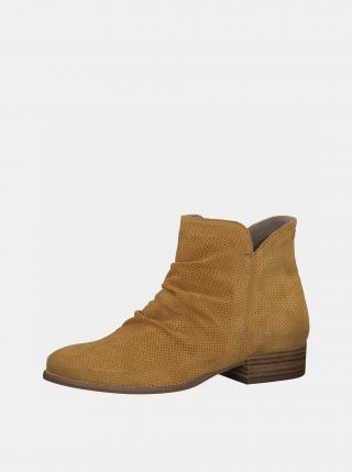 Horčicové semišové členkové topánky Tamaris dámské horčicová 36