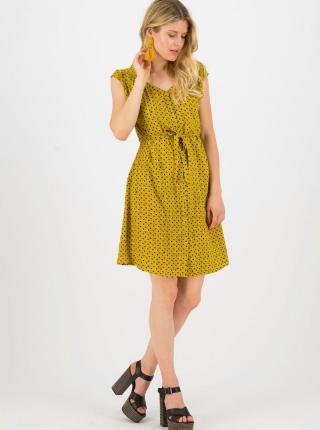 Horčicové vzorované šaty Blutsgeschwister - XS dámské horčicová XS