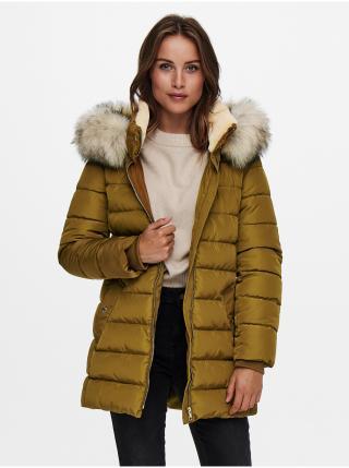 Horčicový prešívaný kabát s umelým kožúškom ONLY Camilla dámské horčicová XS