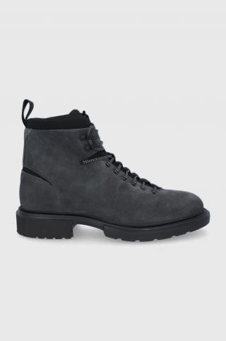 Hugo - Semišové členkové topánky pánské sivá 45
