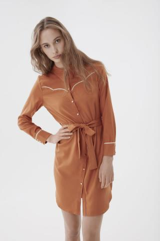 Ichi hnedé košeľové šaty Ixwilla - 36 dámské hnedá 36