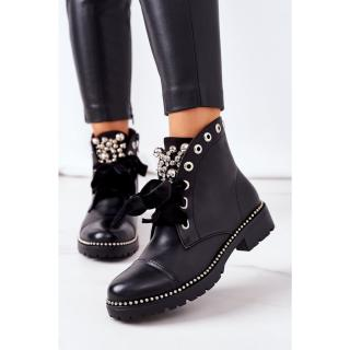 Insulated Boots With Metal Pearls, Studs And A Ribbon Black Perla dámské Other 38