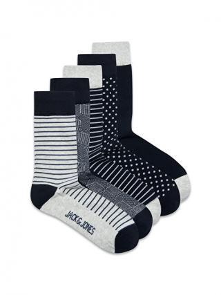 Jack&Jones 5 PACK - pánske ponožky JACLIGHT 12185708 Light Grey Melange pánské