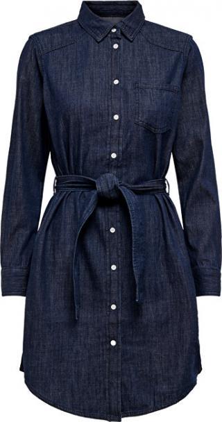 Jacqueline de Yong Dámske šaty JDYESRA LIFE SHIRT DRESS DNM Noosa Dark Blue Denim 34 dámské