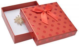 JK Box Červená darčeková krabička s bodkami a mašličkou KC-5 / A7