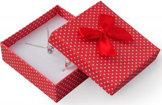 JK Box Červená darčeková krabička s bodkami a mašličkou KK-4 / A7