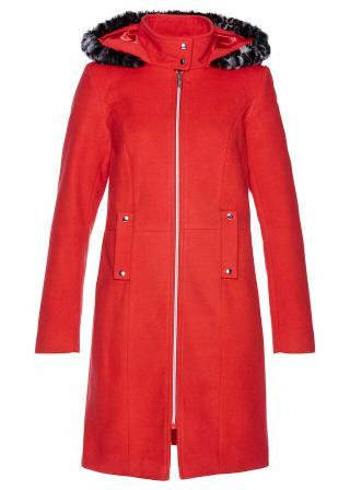 Kabát s kožušinkou dámské červená 42,36,38,40,44,46,48,50,52,54