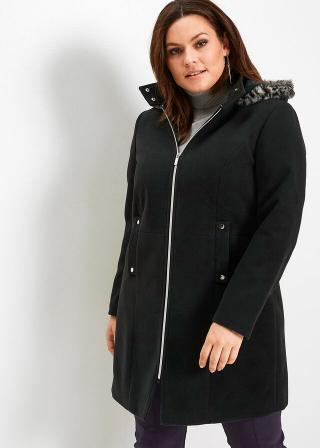 Kabát s kožušinkou dámské čierna 42,36,38,40,44,46,48,50,52,54