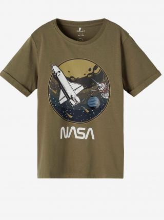 Kaki chlapčenské tričko s potlačou name it Nasa 116