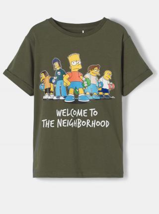Kaki detské tričko s potlačou name it Simpsons 122-128