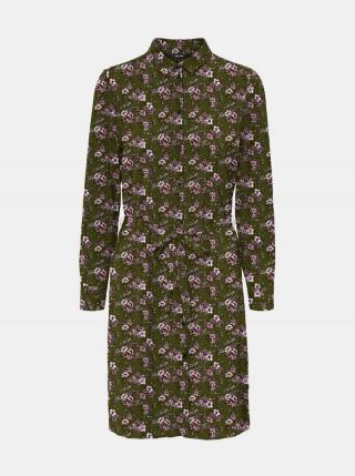 Kaki kvetované košeľové šaty VERO MODA Saga dámské S