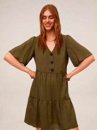 Kaki šaty Mango Rita dámské XS