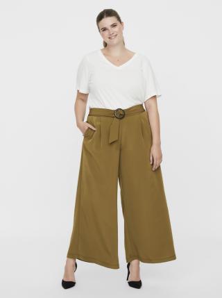 Kaki široké nohavice s opaskom VERO MODA CURVE dámské 50