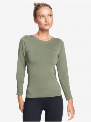 Kaki športové tričko s dlhým rukávom Roxy dámské