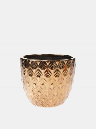 Keramický kvetináč v zlatej farbe Dakls zlatá