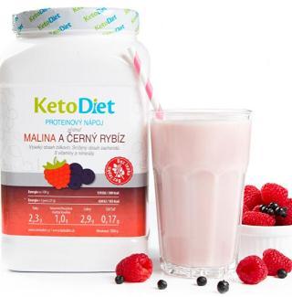 KetoDiet Proteínový nápoj príchuť malina a čierne ríbezle na 1 týždeň 35 porcií