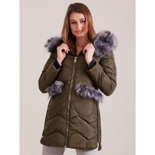 Khaki winter jacket with fur trim dámské Neurčeno S