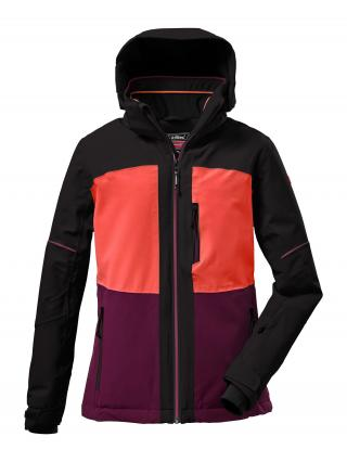 KILLTEC Outdoorová bunda  čierna / tmavofialová / koralová dámské 116