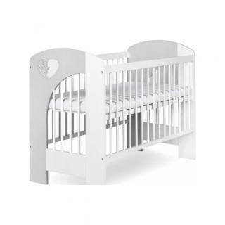 KLUPS Postieľka detská NEL Srdce 120x60 cm bielo-šedá