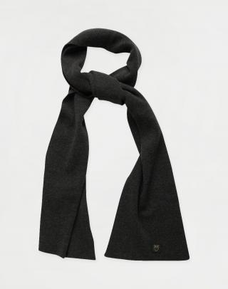 Knowledge Cotton JUNIPER organic wool scarf 1073 Dark Grey Melange pánské Šedá