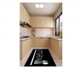Koberec Black Modern Kitchen 80x200 cm Čierna 80x200 cm