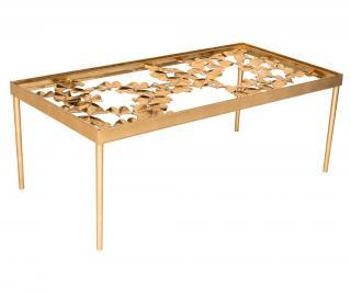 Konferenčný stolík Mirielle Leaf Desk Žltá & Zlatistá