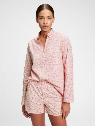 Košeľa na spanie pajama in poplin Ružová dámské XL