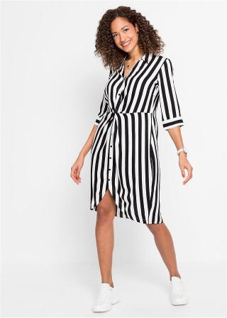 Košeľové šaty s pásikmi, krátke rukávy čierna 34,36,38,40,42,44,46